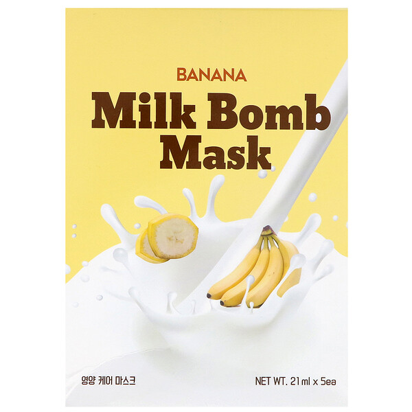 Banana Milk Bomb Mask, 5 Sheets, 21 ml Each