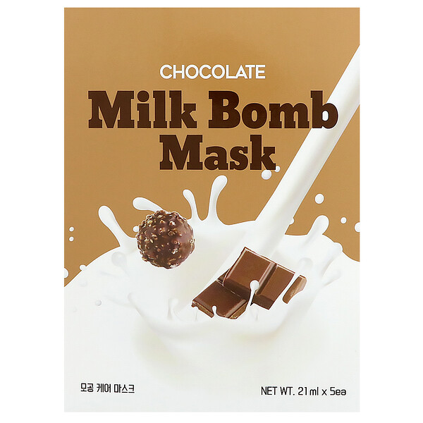 G9skin, Chocolate Milk Bomb Mask, 5 Sheets, 21 ml Each
