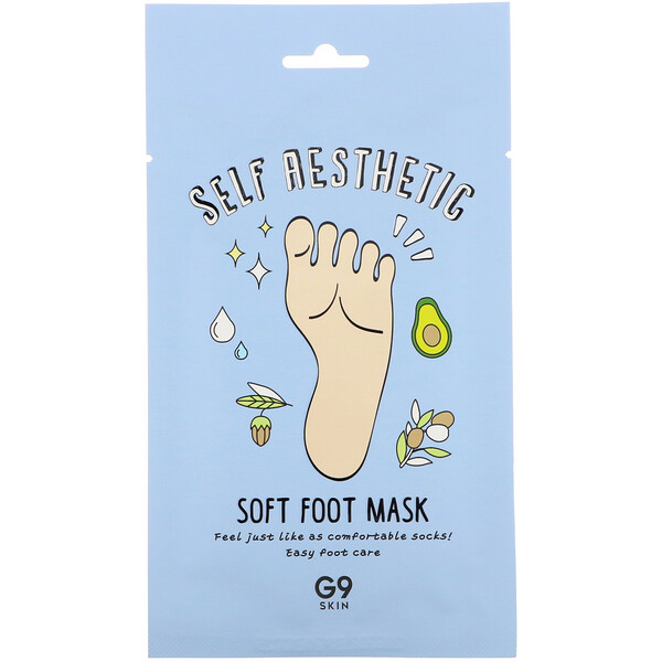 G9skin, Self Aesthetic, Soft Foot Mask, 5 Masks, 0.40 fl oz (12 ml)
