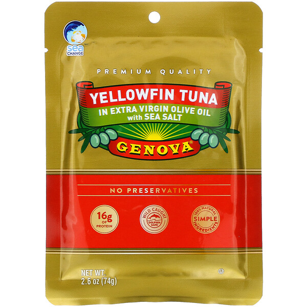 Yellowfin Tuna In Extra Virgin Oilve Oil with Sea Salt, 2.6 oz (74 g)