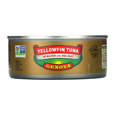 Купить Genova Yellowfin Tuna In Water with Sea Salt, 5 oz ( 142 g)