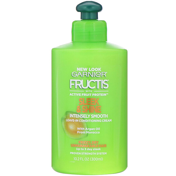 Garnier, Fructis, Sleek & Shine, Intensely Smooth Leave-In Conditioning Cream, 10.2 fl oz (300 ml)