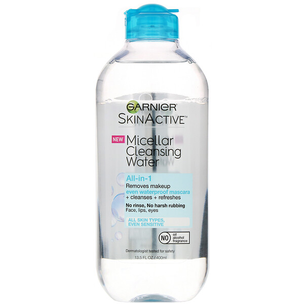SkinActive, Micellar Cleansing Water, All-in-1 Makeup Remover Even Waterproof Mascara, All Skin Types, 13.5 fl oz (400 ml)