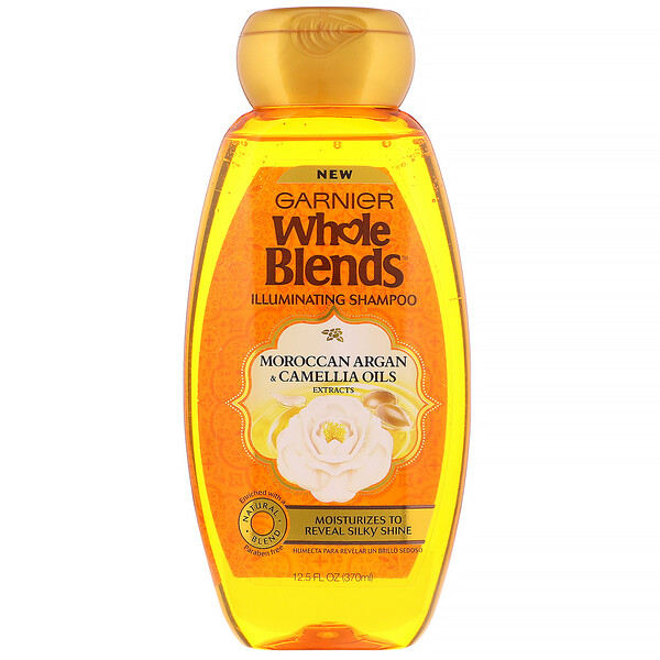 Garnier, Whole Blends, Illuminating Shampoo, Moroccan Argan & Camellia Oils Extracts, 12.5 fl oz (370 ml)