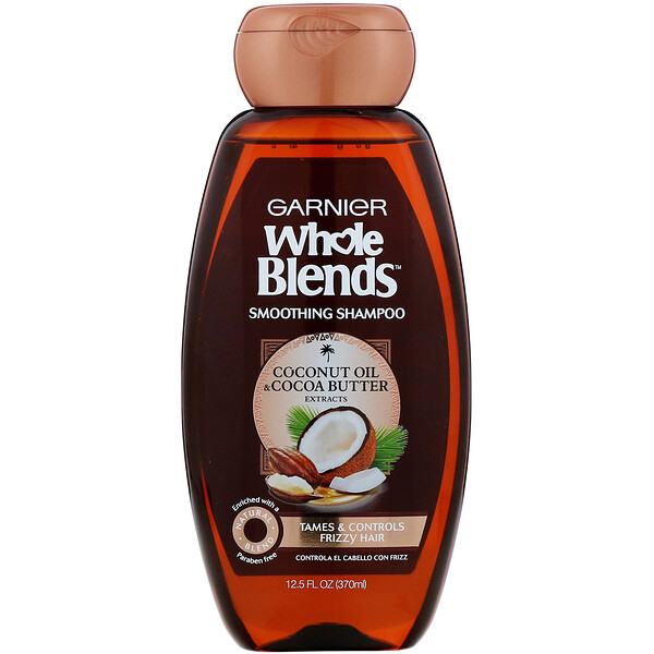 Garnier, Whole Blends, Champú suavizante, Aceite de coco y manteca de cacao, 370 ml (12,5 oz. líq.)