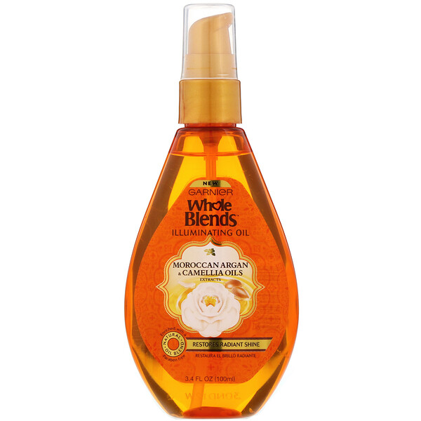 Garnier, Whole Blends, Aceite iluminador, Camelia y aceite de argán marroquí, 100 ml (3,4 oz. líq.) (Discontinued Item)