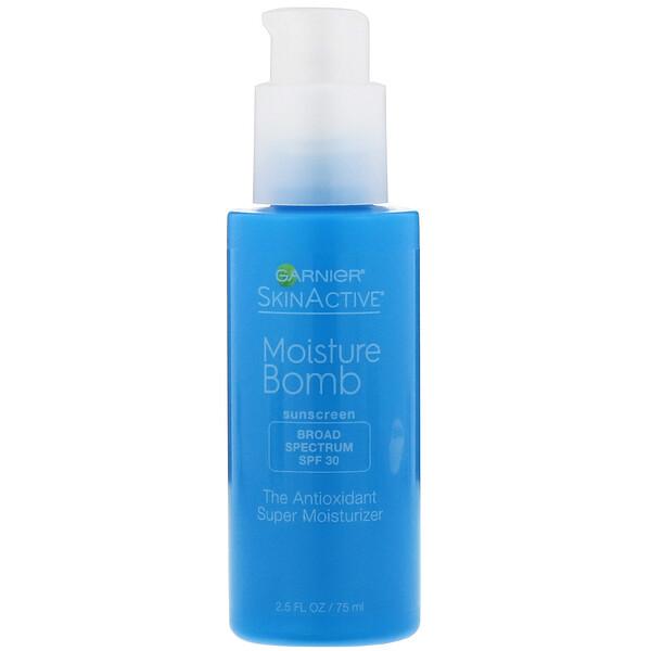 Garnier, SkinActive, Bomba de hidratação, Super-hidratante antioxidante, FPS 30, 75 ml