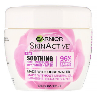 Garnier, SkinActive®,舒缓 3 合 1 保湿霜,含玫瑰水,6.75 液量盎司(200 毫升)