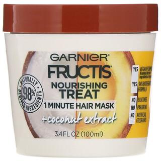 Garnier, Fructis, Soin nourrissant, Masque capillaire 1minute à l'extrait de noix de coco, 100ml