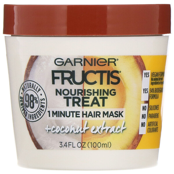 Fructis, Nourishing Treat, 1 Minute Hair Mask + Coconut Extract, 3.4 fl oz (100 ml)