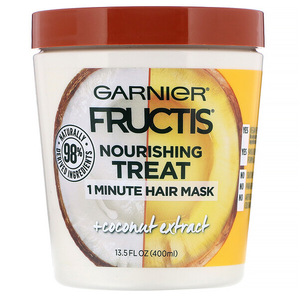 Fructis, Nourishing Treat, 1 Minute Hair Mask, + Coconut Extract, 13.5 fl oz (400 ml)