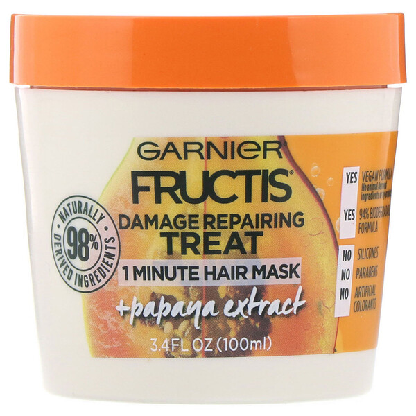 Fructis, Damage Repairing Treat, 1 Minute Hair Mask, + Papaya Extract, 3.4 fl oz (100 ml)
