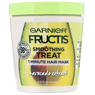 Garnier, Fructis، علاج متجانس، قناع للشعر لمدة دقيقة واحدة ، + مستخلص الأفوكادو، 13.5 أوز سائل (400 مل)