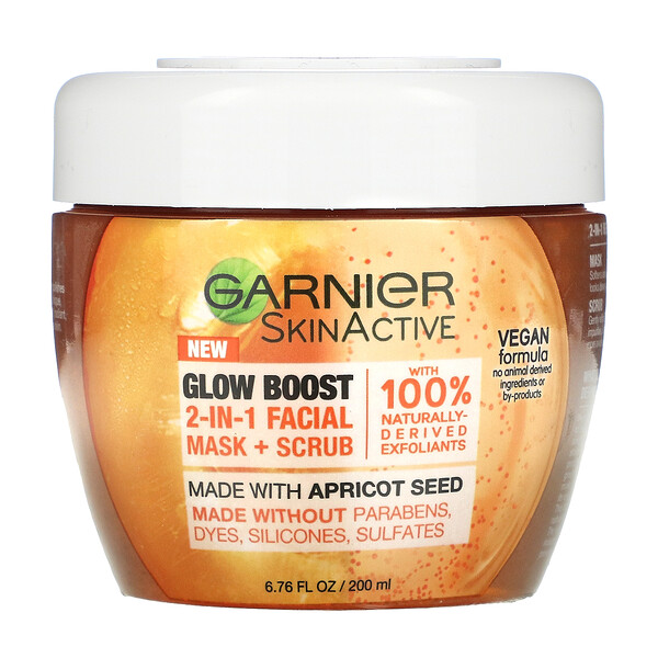 Garnier, SkinActive, Glow Boost 2-In-1 Beauty Facial Mask + Scrub, 6.76 fl oz (200 ml)