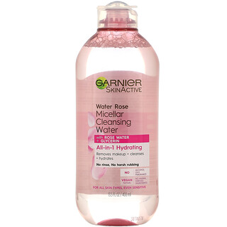 Garnier, SkinActive, Water Rose Micellar Cleansing Water with Rose Water + Glycerin, 13.5 fl oz (400 ml)