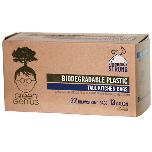 Green Genius, Biodegradable Plastic Tall Kitchen Bags, 13 Gallon, 22 Drawstring Bags (Discontinued Item)