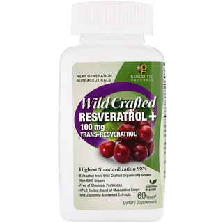 Genceutic Naturals, Wild Crafted Resveratrol+, 100 mg, 60 Vcaps