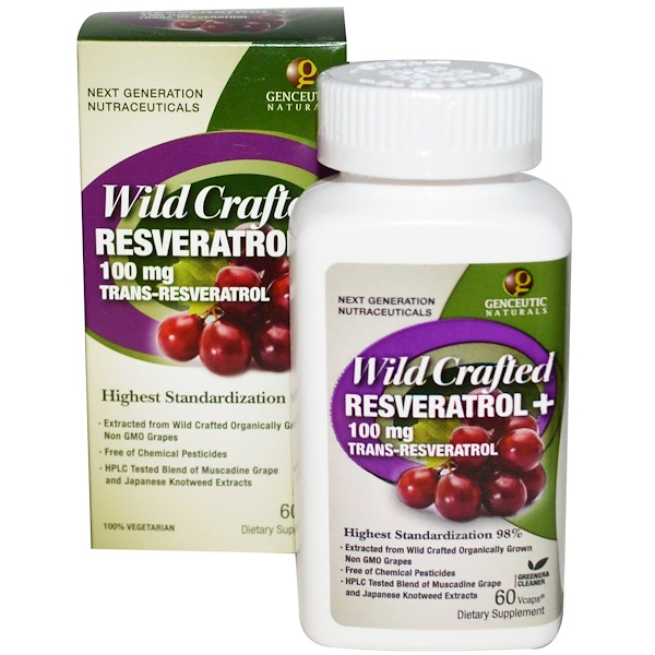 Genceutic Naturals, Wild Crafted Resveratrol+, 100 mg, 60 Vcaps (Discontinued Item)