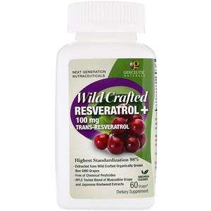 Генсьютик Нэчуралс, Wild Crafted Resveratrol+, 100 mg, 60 Vcaps отзывы