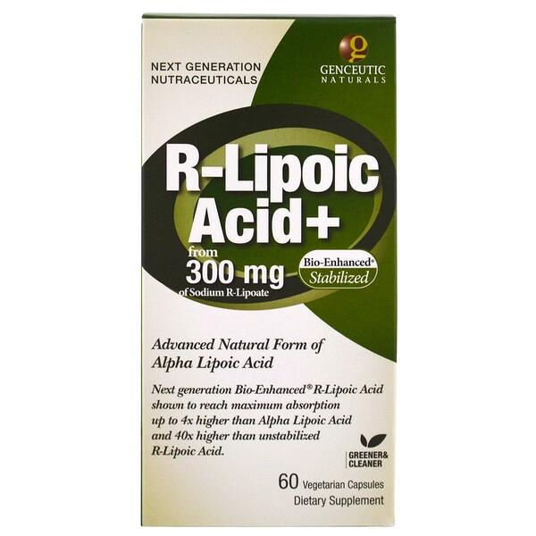 Genceutic Naturals, R-липоевая кислота, 300 мг, 60 капсул