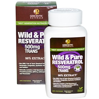 Genceutic Naturals, Wild & Pure Resveratrol, 500 mg, 60 V-Caps
