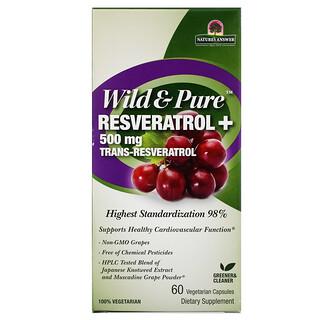 Genceutic Naturals, Wild & Pure Resveratrol+, 500 mg, 60 Vegetarian Capsules