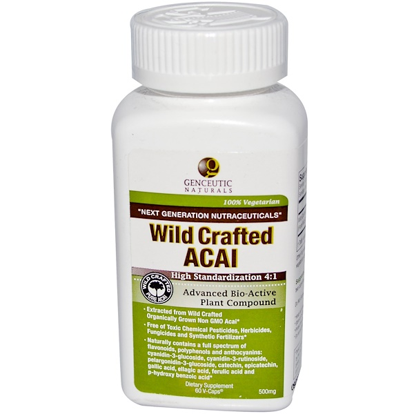Genceutic Naturals, Wild Crafted Acai, 500 mg, 60 Vcaps (Discontinued Item)
