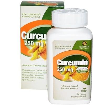 Купить Genceutic Naturals Куркумин, 250 мг, 60 гелевых капсул