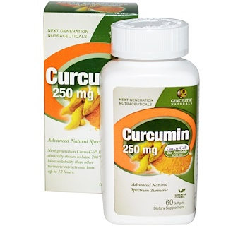 Genceutic Naturals, Curcumin, 250 mg, 60 Softgels