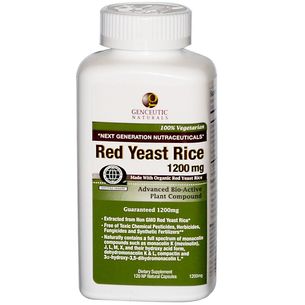 Genceutic Naturals, Red Yeast Rice, 1200 mg, 120 NP Natural Capsules (Discontinued Item)