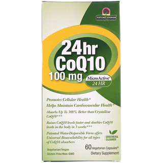 Genceutic Naturals, 24hr CoQ10, 100 mg, 60 Vegetarian Capsules