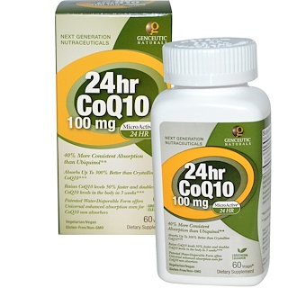 Genceutic Naturals, 24hr CoQ10, 100 mg, 60 Vcaps