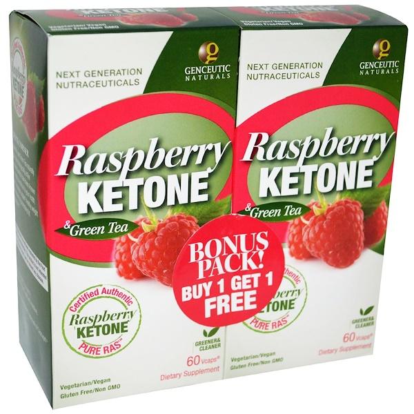 Genceutic Naturals, Raspberry Ketone & Green Tea, 2 Bottles, 60 V-Caps Each (Discontinued Item)