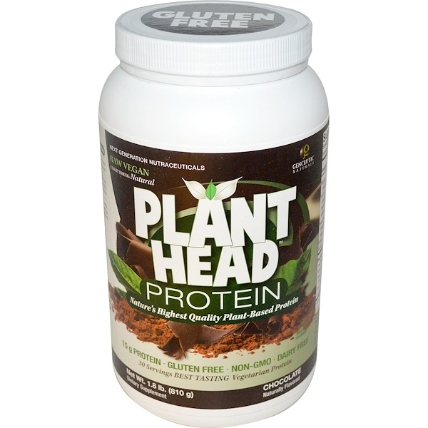Genceutic Naturals, Plant Head Protein, Chocolate, 1.8 lb (810 g) (Discontinued Item)