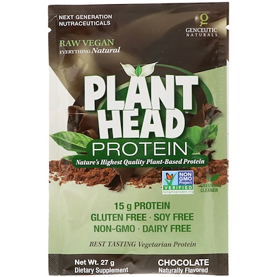 Genceutic Naturals Plant Head Protein, Chocolate, 27 g