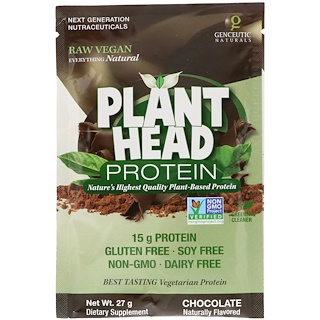 Genceutic Naturals, Plant Head Protein, Chocolate, 27 g