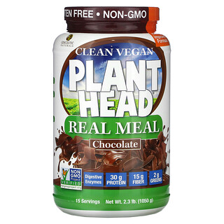 Genceutic Naturals, Clean Vegan Plant Head, Real Meal, Chocolate, 2.3 lb (1,050 g)