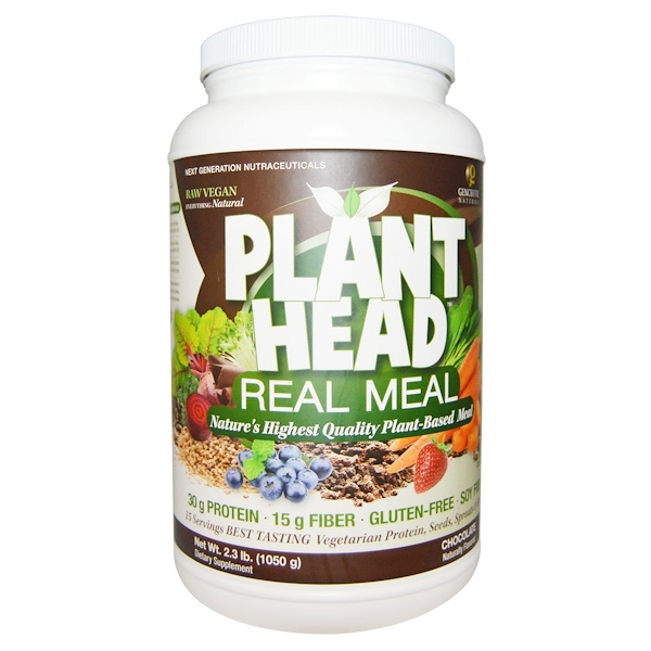 Genceutic Naturals, Plant Head, Real Meal, Chocolate, 2.3 lb (1050 g)
