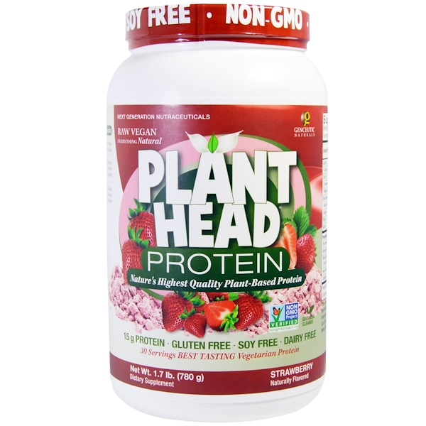 Genceutic Naturals, Plant Head Protein, Strawberry, 1.7 lb (780 g) (Discontinued Item)