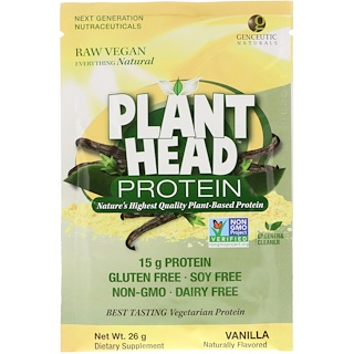 Genceutic Naturals, Plant Head Protein, Vanilla, 26 g