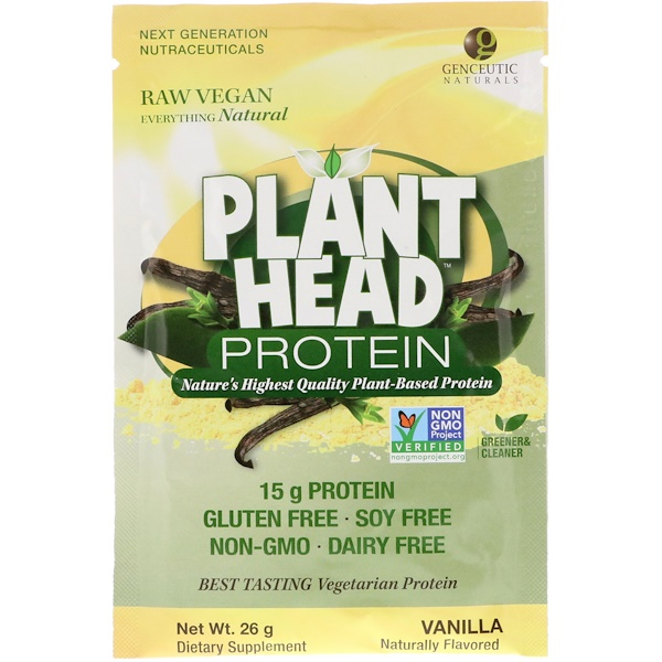 Genceutic Naturals, Plant Head Protein, Vanilla, 26 g (Discontinued Item)
