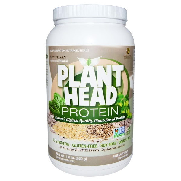 Genceutic Naturals, Plant Head Protein, Unflavored, 1、3 lb (630 g)
