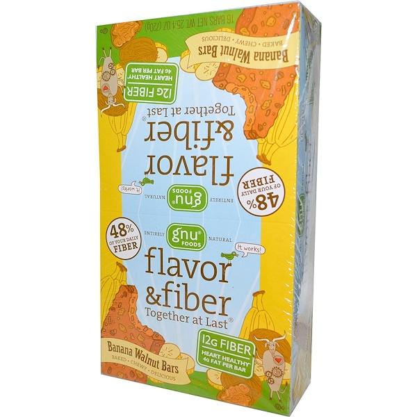 GNU Foods, Flavor & Fiber, Together At Last, Banana Walnut, 16 Bars, 1.6 oz (45 g) Per Bar (Discontinued Item)
