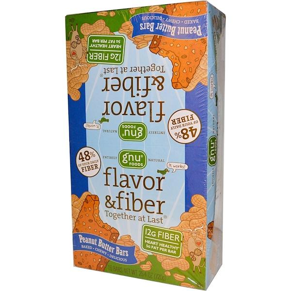 GNU Foods, Flavor & Fiber Together At Last, Peanut Butter Bars, 16 Bars, 1.6 oz (45 g) Each (Discontinued Item)