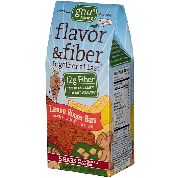 GNU Foods, Flavor & Fiber, Together At Last, Lemon Ginger Bars, 5 Bars, 1.6 oz (45 g) (Discontinued Item)