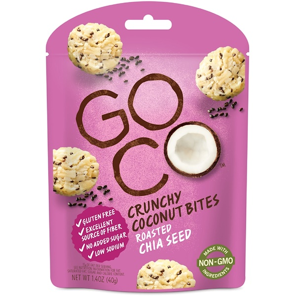 GoCo, Crunchy Coconut Bites, Roasted Chia Seed, 1.4 oz (40 g) (Discontinued Item)