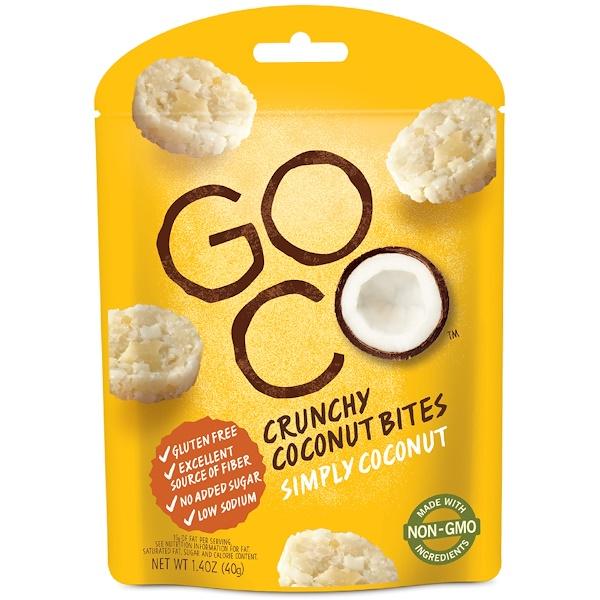 GoCo, 爽脆椰子餅乾,Simply Coconut,1、4盎司(40克)
