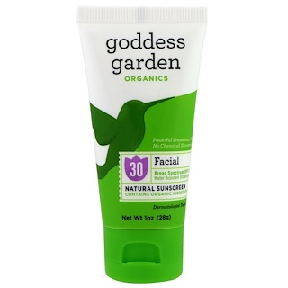 Goddess Garden, Organics, Facial, Natural Sunscreen, SPF 30, 1 oz (28 g)