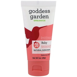 Goddess Garden, Organics, Baby Natural Mineral Sunscreen, SPF 30, 1 oz (28 g)