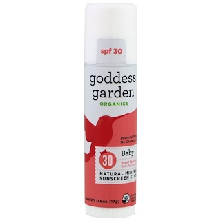 Goddess Garden, Organics, Baby Natural Mineral Sunscreen Stick, SPF 30, 0.6 oz (17 g)